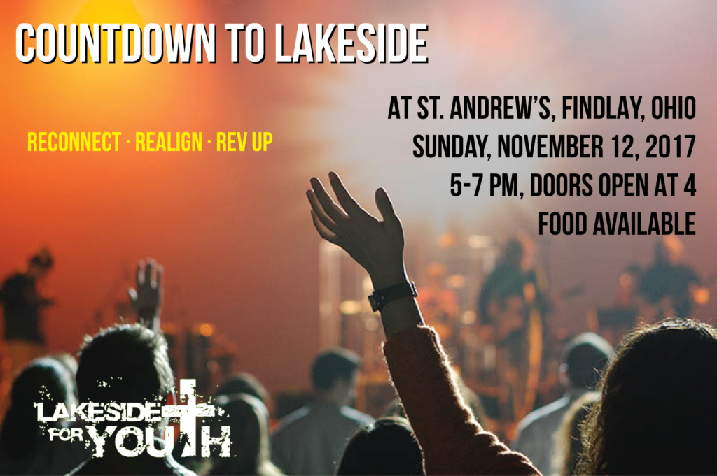 The Fall Countdown to Lakeside is at St. Andrew's in Findlay on Sunday, November 12 from 5-7 pm
