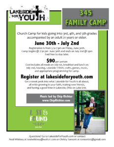 Lakeside For Youth 345 Family Camp Flyer 2017
