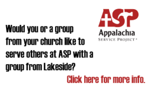 Join Lakeside family serving at ASP Appalachian Service Project