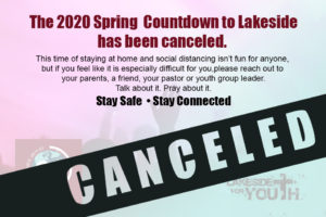 Spring 2020 Countdown to Lakeside is Canceled